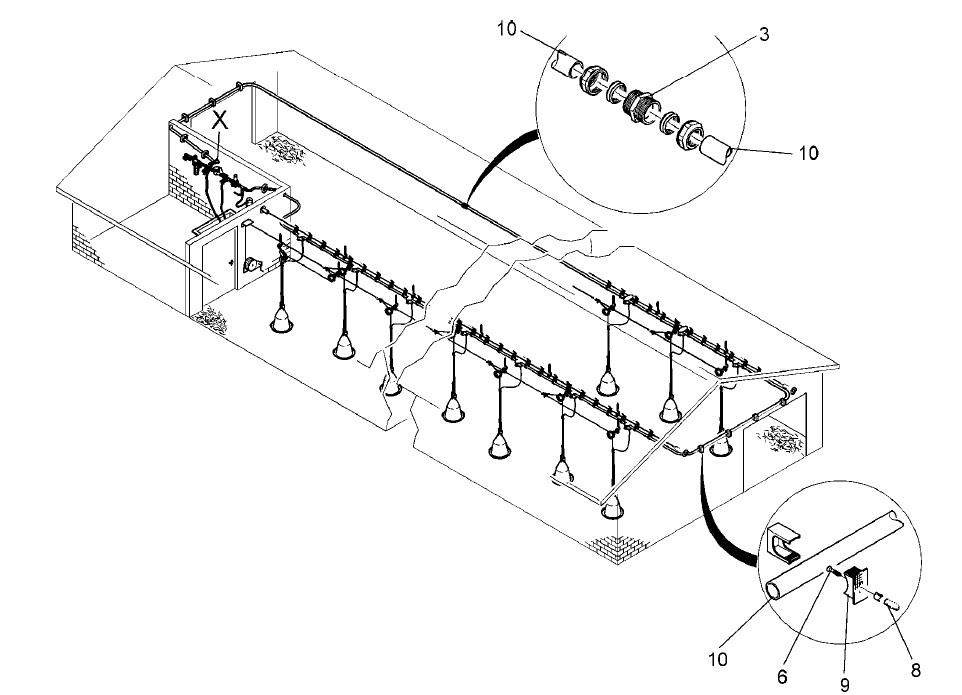 схема монтажа подвесных поилок